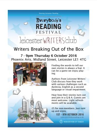Leicester Writers' Club Writers Breaking Out of the Box Event