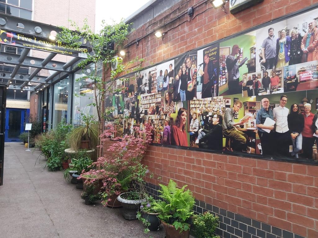 Five Leaves Bookshop (exterior) on Long Row West, Nottingham.